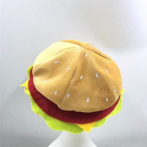 CARTEY Burger Hut, Cheeseburger Hut Headwear - Burger Essen Hut Halloween Weihnachten Kostüm Party Dress Up Requisiten Hut für Kinder Erwachsene (Kostüme Erwachsene Burger)