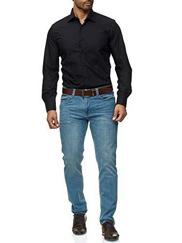 J'S FASHION Herren-Hemd - Slim Fit - Bügelleicht - Langarm-Hemd für Business Freizeit Hochzeit - Schwarz - M