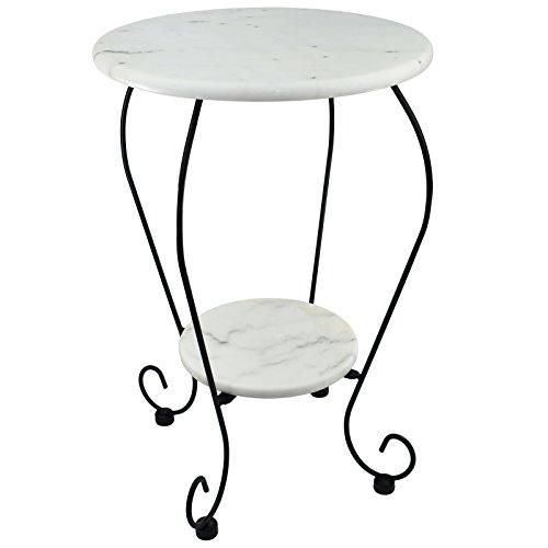 Beistelltisch Blumenhocker Bistrotisch Gartentisch Bistro-Tisch weiß - Marmorplatte - Unikat durch Naturstein - Gestell aus Gusseisen Ø25cm x Ø41cm - 59cm