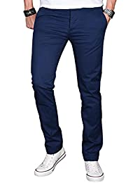 A. Salvarini Herren Designer Chino Stretch Stoff Hose Chinohose Regular Slim mit Elasthananteil AS024