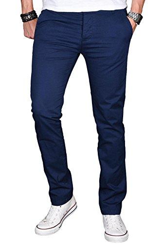 A. Salvarini Herren Designer Chino Stretch Stoff Hose Chinohose Regular Slim mit Elasthananteil AS024 [AS024 - Dunkelblau - W34 L30]