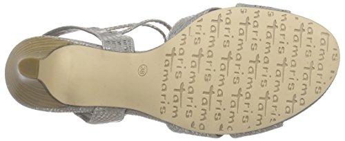 Tamaris - 28304, Scarpe col tacco con cinturino a T Donna Grigio (Grau (GREY STRUCTURE 228))