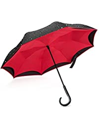 Giwox Paraguas invertido de la capa doble del recorrido con la manija en forma de J del ABS, 8 Whisks de la fibra de vidrio (124cm / Black + Red)