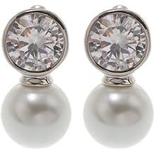 d4711a082577 Pendientes bisutería – de calidad con una perla cristal y circonitas piedra