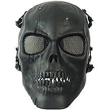 wwman Airsoft cara completa calavera máscara táctico juego de guerra CS Protective Gear equipo, negro