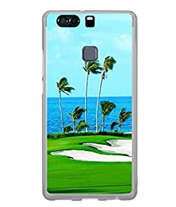 Fuson Designer Back Case Cover for Huawei P9 (Sea Water Palm Golf Breeze Tree)