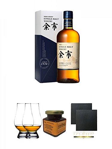 Nikka Yoichi Single Malt Whisky 0,7 Liter (45{71a901998f91976b2b5bad6a53b1d5622ef8f80658f55f7a971b9beba50c1ae3}) + The Glencairn Glass Whisky Glas Stölzle 2 Stück + Tyrconnell Erdbeer Marmelade 150 Gramm Glas + Schiefer Glasuntersetzer eckig ca. 9,5 cm Ø 2 Stück