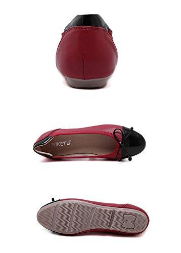 Minetom Donne Estate Autunno Tondo Testa Scarpe Con Fiocco Decorate Stile Dolce Balletto Piatto Colori Misti Flat Comode Rosso