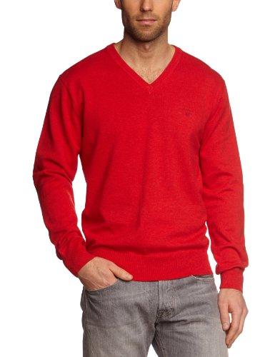 GANT Herren Pullover LT. WEIGHT COTTON V-NECK, Einfarbig Rot  (BRIGHT RED MEL)