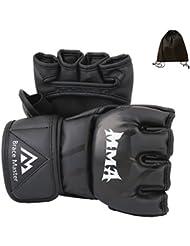MMA UFC Guantes Par Mediana Grande para Hombres Mujeres Protección de Grappling, Guantes de Entrenamiento sin Dedos de Cuero Negra para Entrenamiento, Lucha, Muay Thai, Boxeo, Saco de boxeo (Grande)