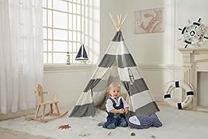 DeceStar Gris Tente Teepee pour les enfants - 100% Toile coton naturel Jouer Tente pour enfants - Avec matelas et sac de transport