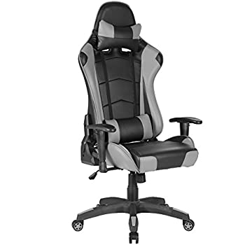 songmics chaise gamer fauteuil de bureau racing sport avec support lombaire et coussin noir. Black Bedroom Furniture Sets. Home Design Ideas