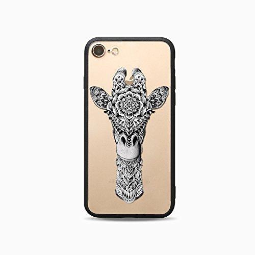 Coque iPhone 7 Plus Housse étui-Case Transparent Liquid Crystal Les animaux en TPU Silicone Clair,Protection Ultra Mince Premium,Coque Prime pour iPhone 7 Plus-Le loup-style 2 7