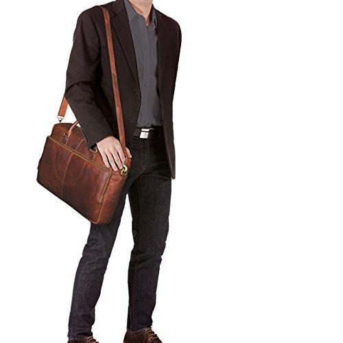 STILORD 'Aaron' Borsa da lavoro portadocumenti in pelle Borsa cartella da donna uomo per PC portatile da 15.6 pollici in cuoio vintage per ufficio, Colore:cognac cognac-marrone
