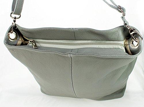Damentasche Handtasche Umhängetasche Ital Schultertasche Echt hellgrau Leder hellgrau Ledertasche qSSHFx
