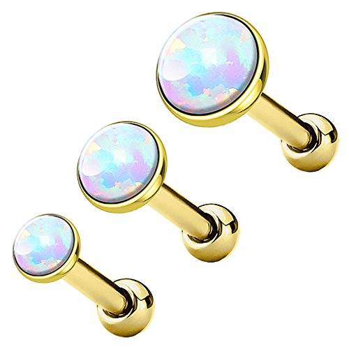 Piercingfaktor Tragus Piercing Helixpiercing Helix Ohr Cartilage Knorpel Stecker mit flachen Opal Steinen Rund Gold Weiß SET
