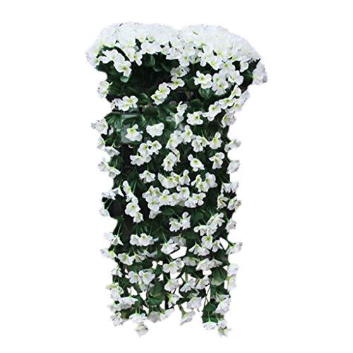 QUINTRA Künstliche Blume Violet Flower Wall Wisteria Basket das Garland Vine Flowers hängt Gefälschte Seidenorchidee Wohnkultur (Grün Lila Und Fedora)