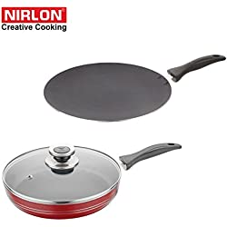 NIRLON Kitchen Non Stick Cookware Sets Combo Offer Heavy base Cooking CONCAVE TAWA & FRY PAN Premium Quality Utensils-non sticky PTFE PFOA Free Coating with best Performance Multipurpose Round Pots & Pans set