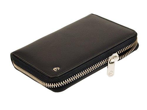 Esquire RFID Black Reißverschluss Geldbörse RFID Schutz und Card-Safe Geldbeutel Portemonnaie Geldtasche Nappa Leder Schwarz Metallreißverschluss