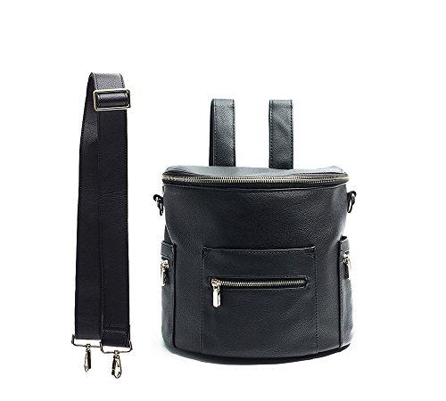 Miss Fong Lederrucksack Damen, Kleiner Rucksack Mini Rucksack Damen Mit Schultergurt und Isolierter Tasche (Schwarz)