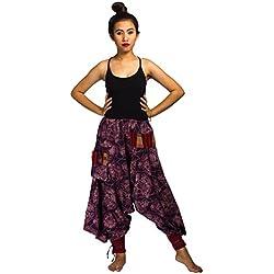Lofbaz Pantalones de algodón Hmong impreso algodón Harem Diseño # 1 Flor Púrpura