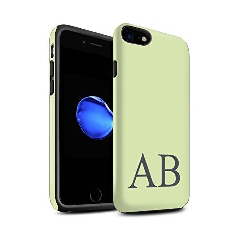 Personalisiert Pastell Monogramm Matte Zähen Hülle für Apple iPhone 7 / Türkis Design / Initiale/Name/Text Stoßfest Schutzhülle/Case/Etui Grünes