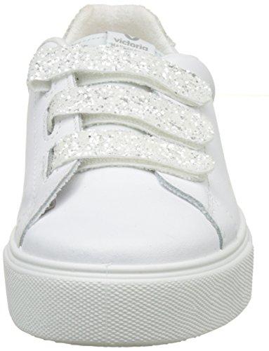 Victoria - Deportivo Piel Velcros Glitter, Basse Donna Bianco (Blanco)