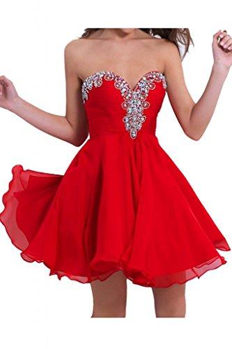 Victory bridal ladiesfashion tendance abendkleider avec étoiles robe courte en mousseline de danse cocktailkleider sommerkleider brautjungfernkleider Rouge - Rouge