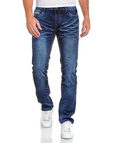 BLZ jeans - Jeans bleu foncé homme délavage froissé Bleu