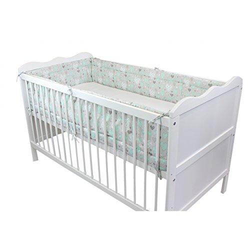 TupTam Baby Nestchen Bettumrandung Babybett 140x70, Farbe: Herzen Grau, Größe: 420x30cm (für Babybett 140x70)
