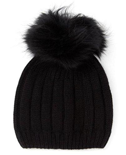Miuk femmes 100%  pur cachemire Basic Bonnet en tricot avec un Woobies Noir - Noir