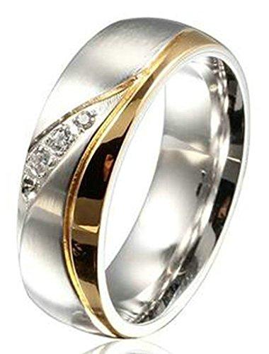 Aooaz Schmuck Unisex Ring,Klar CZ Zirkonia Edelstahl Ehering Verlobungsringe für Damen&Herren Gold Silber Größe 54(17.2)