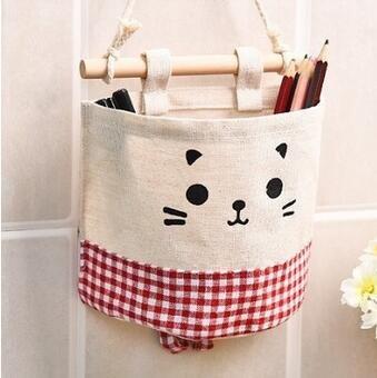 wibille-cute-cartoon-hanging-bags-storage-bag-organizer-closet-hanger-rack-red-lattice