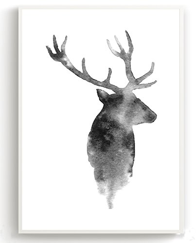 Wandposter für Wohnzimmer, Schlafzimmer, Arbeitszimmer Poster, Wandbild, Wanddruck edel (DIN A4 3er-Set) Hirsch - 2