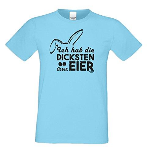 Männer-Oberteil zu Ostern Tshirt mit Hasenmotiv Ideal als Geschenke Idee mit Print: Ich hab die dicksten Ostereier Farbe: hellblau Hellblau