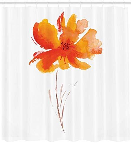 Abakuhaus Duschvorhang, Gerbera Blume auf Simplen Einfachem Klarem Hintergrund Natur Inspirierte Romantische Kunst, Blickdicht aus Stoff inkl. 12 Ringe für Das Badezimmer Waschbar, 175 X 200 cm