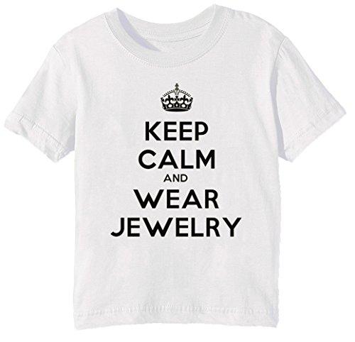 Keep Calm And Wear Jewelery Kinder Unisex Jungen Mädchen T-Shirt Rundhals Weiß Kurzarm Größe L Kids Boys Girls White Large Size L (Kind Juwel Tiara)