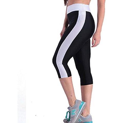 Vovotrade De Cintura alta Sport Pantalones Yoga de la Aptitud Estiramiento de las Polainas siete Puntos (Negro,
