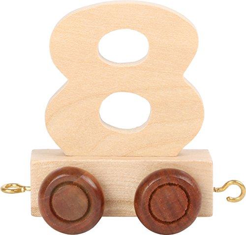 Buchstabenzug   Geburtstags Zahlen und Waggon mit Kerzenhalter   Holzeisenbahn   EbyReo® Namenszug aus Holz   personalisierbar   Geburtstag oder als Deko für den Geburtstagstisch (Zahl 8)
