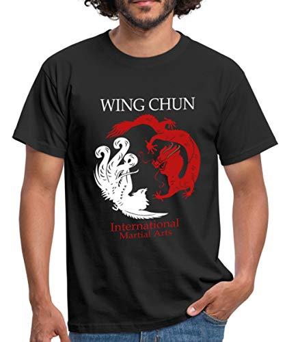 Spreadshirt Wing Chun Dragon Martial Arts Männer T-Shirt, L, Schwarz -