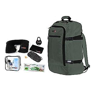 Cabin GO Zaino cod. MAX 5540 bagaglio a mano/cabina da viaggio, 55 x 40 x 20 cm, 44 litri approvato volo IATA/EasyJet/Ryanair (Verde piombo/Nero)