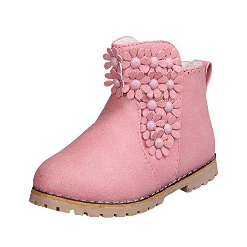 Mädchen Baby Mode Floral Martin Schuhe Nette Kleinkind Sneaker Winter Schnee Stiefel (Alter: 6.5-----7 Y Kid, Rosa)