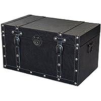 Preisvergleich für Vintage Truhe/Beistelltisch Quader schwarz 47cm