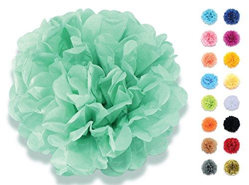 denpapier Deko-Pompoms 20 cm mint-grün | Schöne Hochzeit-Deko, Geburtstag-Deko, Baby Shower-Deko, Hochzeitsauto-Deko, Garten Party-Deko | Inklusive Pompons Video-Aufbauanleitung (Mint Grüne Dekorationen)