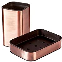 CROWNSTARQI Bathroom Accessory Set Soap Dish + Toothbrush Holder,Stainless Steel,Square Style,Bronze