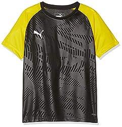 PUMA Kinder CUP Training Jersey Core Jr Trikot, Black-Cyber Yellow, 128