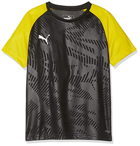 PUMA Kinder CUP Training Jersey Core Jr Trikot, Black-Cyber Yellow, 140