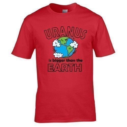 Naughtees kleidung - Uranus is größer als the Earth voll Bedrucktes T-shirt Rot