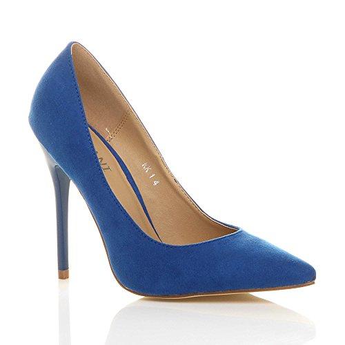 Donna tacco alto lavoro festa elegante scarpe de moda décolleté a punta taglia Blu cobalto scamosciata