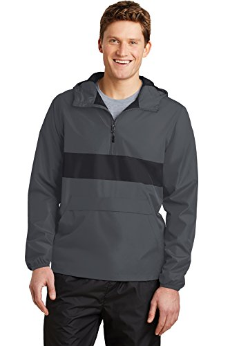 Sport-Tek® Zipped Pocket Anorak. JST65 Graphite Grey/ Black XL (Anorak Sport-tek)